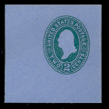 U314 2c Green on Blue, die 2, Mint Full Corner
