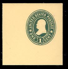U353 1c Green on Amber, Mint Full Corner, 50 x 50