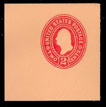 U360 2c Carmine on Oriental Buff, die 1, Mint Full Corner, 50 x 50