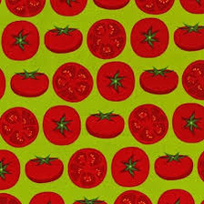 """Metro Market Tomatoes on Chartreuse Size:  Approx. 8"""" Square"""