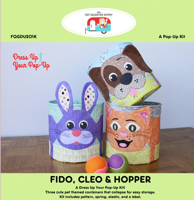FQGDU201K Fido, Cleo & Hopper Pop Up Kit Kit includes instructions, spring, and elastic to make ONE.  replaces FQGDU201 Fido, Cleo & Hopper Pop Up Pattern - instructions only