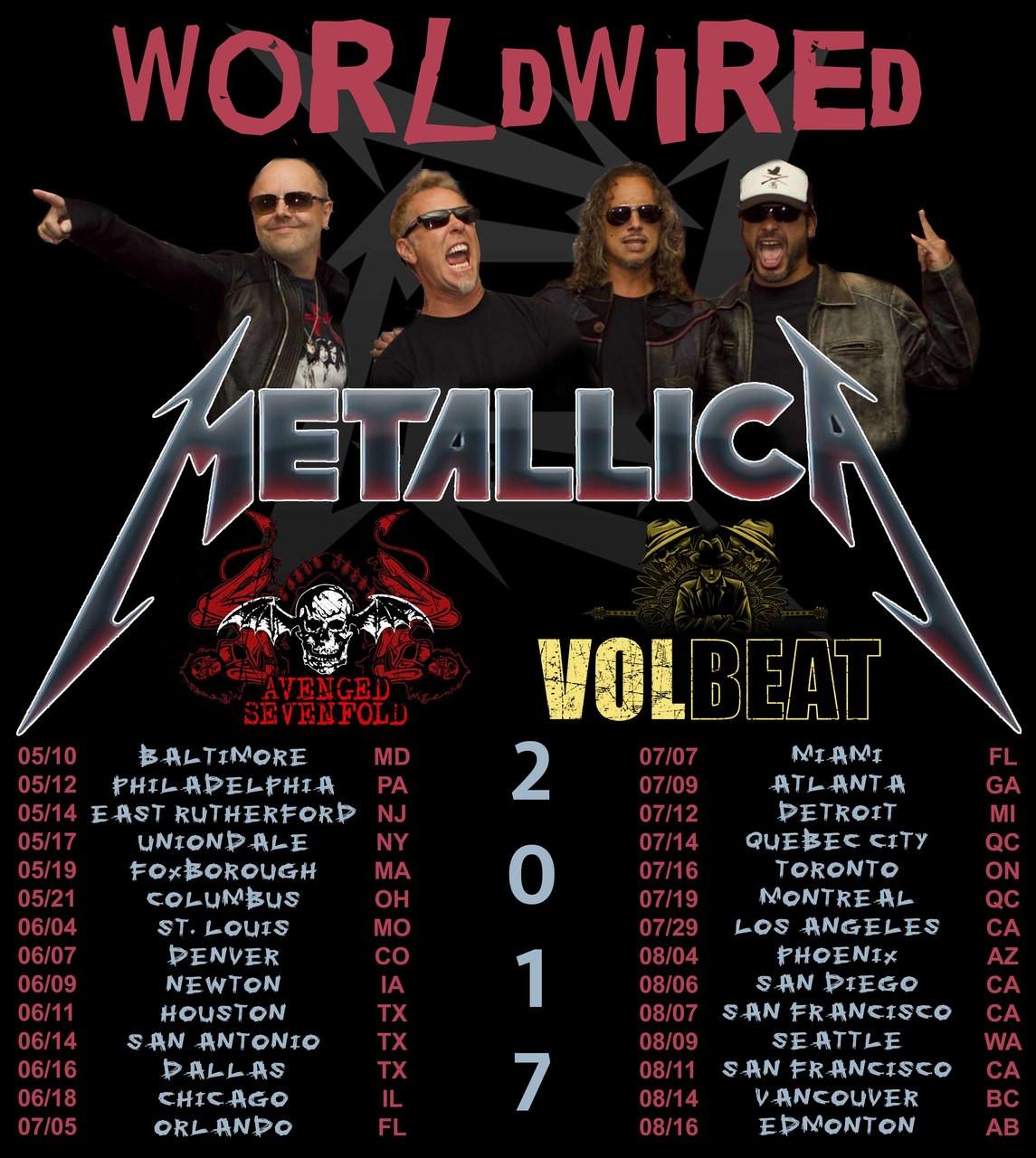 Metallica concert dates in Melbourne