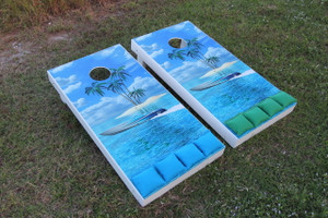 Standard Series Cornhole Boards - Painted White with one of our stock graphic images