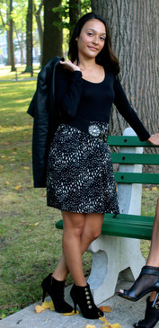 Black Long Sleeve Mix Media Dress