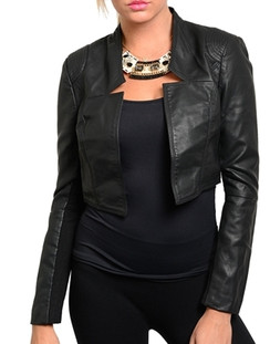 Crop Faux Leather Jacket