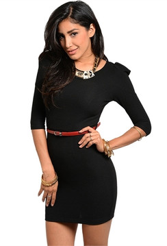 Black Slim fit Puff Shoulder Dress