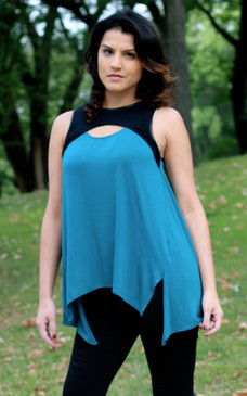 Sleeveless Tunic Top - Teal/Black