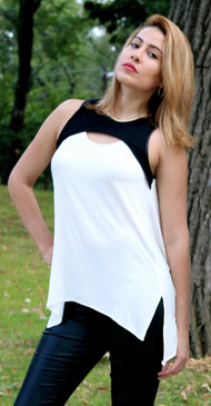 Sleeveless Tunic Top -Ivory/Black