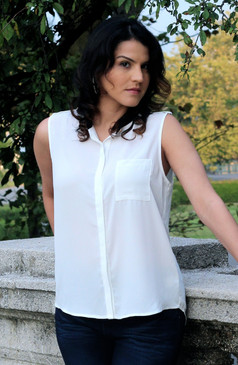 Sleeveless Ivory Woven Top with Black Collar Detail