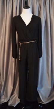 Long Sleeve Black Chiffon Jumpsuit with Metallic Belt