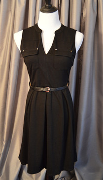 Black Sleeveless Knit Dress with Front Pockets