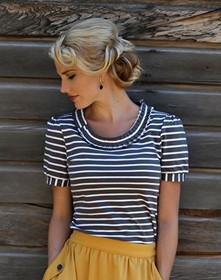 Pleated Neckline Top- Gray/White Stripe
