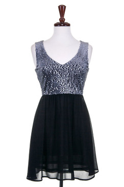 Silver Sequin Top Fit and Flare Dress