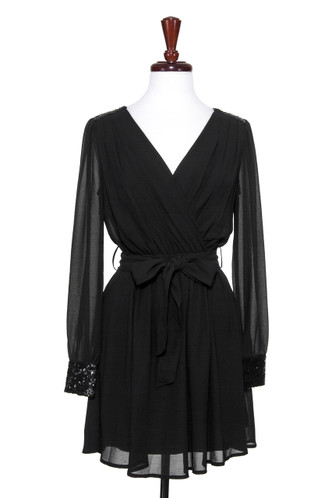 Long sleeve chiffon wrap around black dress