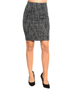 Black/Gray Tweed Pencil Skirt