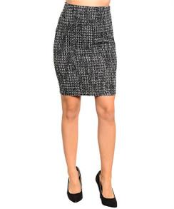 Black/Gray Tweed Pencil Skirt