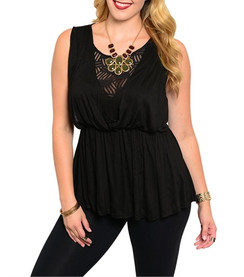 Sheer Lace V-neck Peplum Top - Black