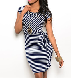 Navy/Gray Stripe Knit Dress