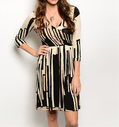 Black/Tan Faux Wrap Dress