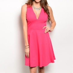 Coral V-neck Fit and Flare