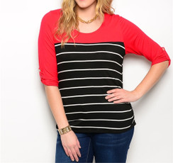 Two-tone Stretch Knit Top