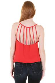Multi Strap Back Tank Top - Tomato Red