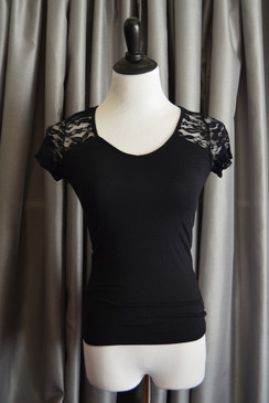 Short Sleeve Lace Detail Tee - Black