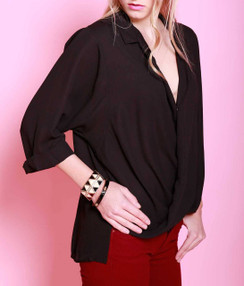V-neck Chiffon Top - Black