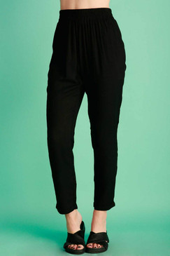 Black Flowy Trouser Pant