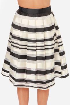Black/Taupe Pleated Layered Stripe Skirt