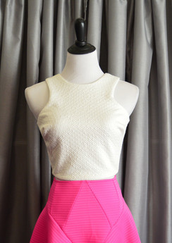 Sleeveless Crop Top - White