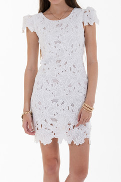 Cap Sleeve Lace Dress - White
