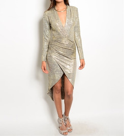 Metallic Gold Deep-V Dress