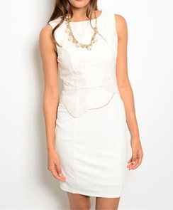 Ivory/Peach Lace Shift Dress