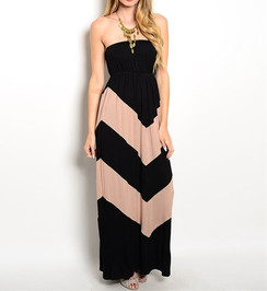 Black/Taupe Chevron Maxi