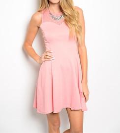 Pink Lace Detail Skater Dress