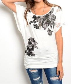 Floral Graphic Print Top