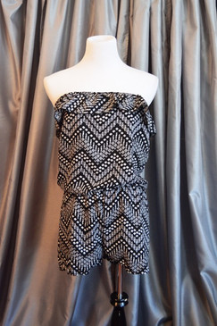 Romper-Black/White Zig Zag Diamond Print