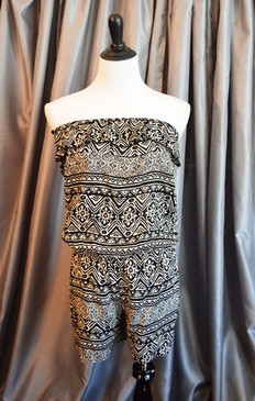 Romper-Black/White Tribal Print