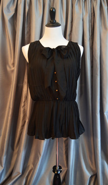 Black Accordion Pleat Chiffon Blouse