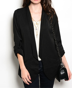 "Black ""Boyfriend"" Stretch Blazer"