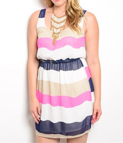 Multi Stripe Blouson Plus Size Dress