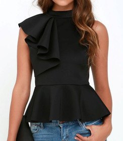 Black -Ruffle Front Peplum Top