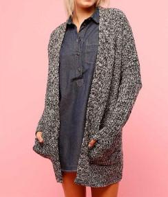 Long Sleeve Open Knit Sweater-Blk/Wht