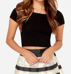 Short Sleeve Textured Crop Top