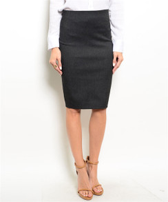 High Waisted Pencil Skirt - Charcoal