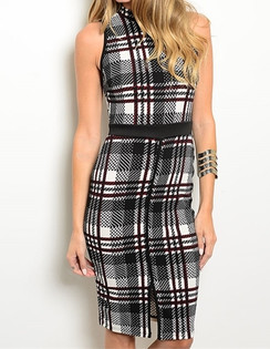 Plaid Print Mock Neck Dress