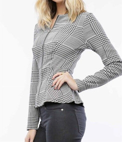 Black/White Houndstooth Peplum Jacket