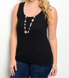 Scoop Neck Tank Top - Black