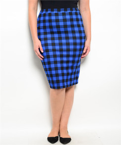 Checkered Print Pencil Skirt - Royal/Black